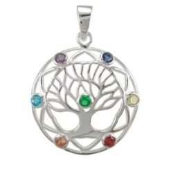 Sterling Silver 27mm Multi Colour Cubic Zirconia Tree Of Life Pendant