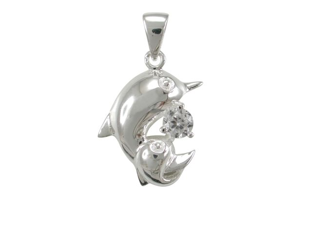 Sterling Silver 16x13mm White Cubic Zirconia Double Dolphin Pendant