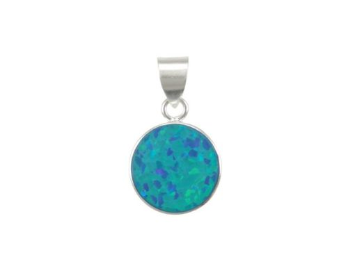 Sterling Silver 11mm Round Blue Synthetic Opal Pendant