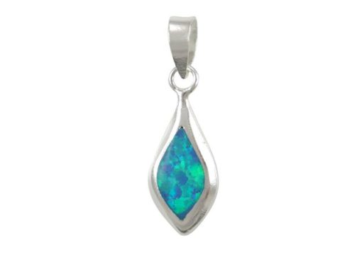 Sterling Silver 15x7mm Teardrop Blue Synthetic Opal Pendant