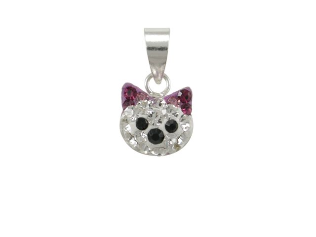 Sterling Silver 8mm Purple Crystal Cat Pendant