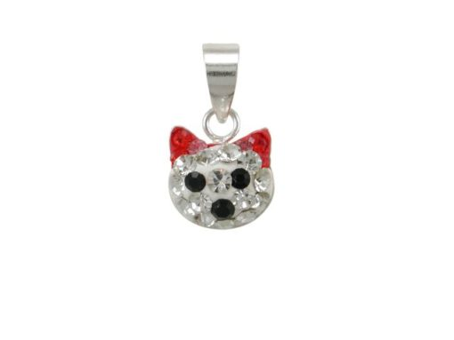 Sterling Silver 8mm Red Crystal Cat Pendant