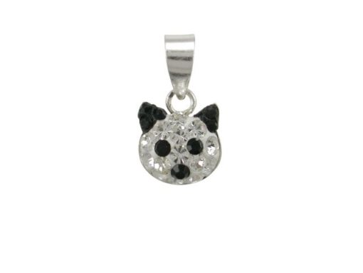 Sterling Silver 8mm Black Crystal Cat Pendant