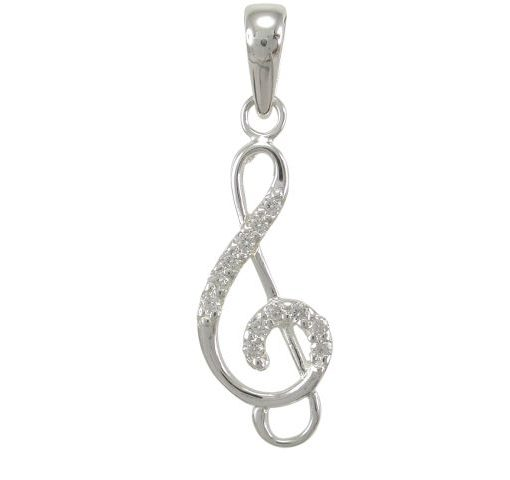 Sterling Silver 23x10mm White Cubic Zirconia Treble Clef Pendant