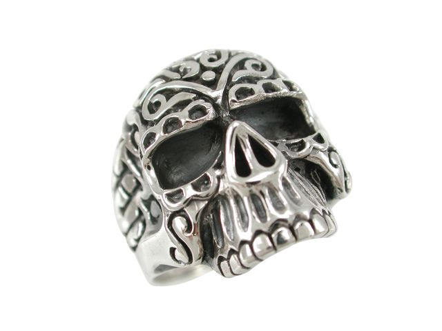 Sterling Silver 23mm Ornate Skull Ring