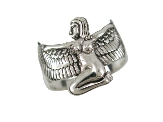 Sterling Silver 16mm Egyptian Goddess Isis Ring