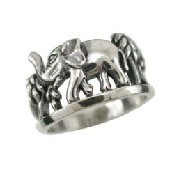 Sterling Silver 11mm Elephant Ring