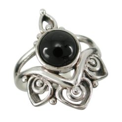 Sterling Silver 22mm Black Onyx Ruby Bohemian Style Ring (mixed Sizes)