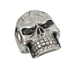 Sterling Silver 25mm Cubic Zirconia Skull Ring (mixed Colours)