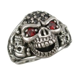 Sterling Silver 20mm Cubic Zirconia Skull Ring (mixed Colours & Mixed Sizes)