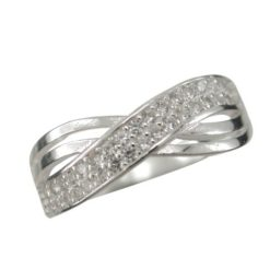 Sterling Silver 6mm White Cubic Zirconia Crossover Ring