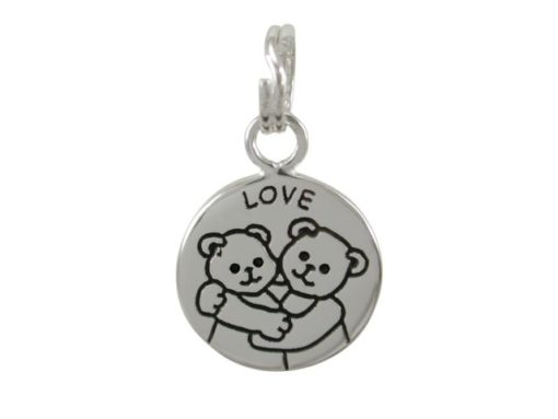 Sterling Silver 12mm *love* Hugging Teddy Bears Charm With Split Ring