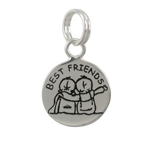 Sterling Silver 12mm *best Friends* Charm With Split Ring