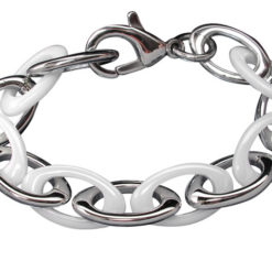 Stainless Steel And White Ceramic Oval Link Bracelet