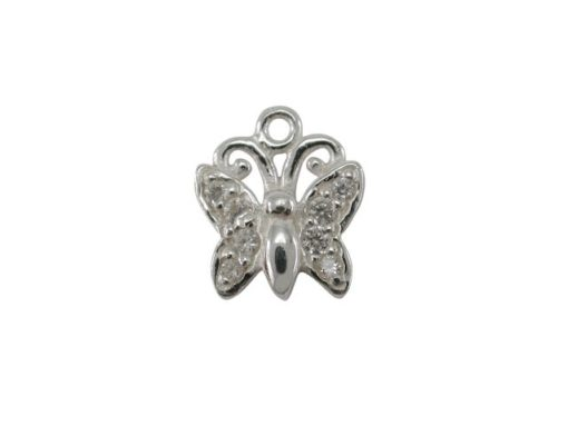 Sterling Silver White Cubic Zirconia Butterfly,  Butterfly Memories Charm