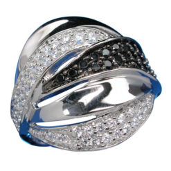 Sterling Silver 20mm Black & White Cubic Zirconia Ring-
