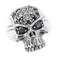 Sterling Silver 23mm Black & White Cubic Zirconia Skull Ring