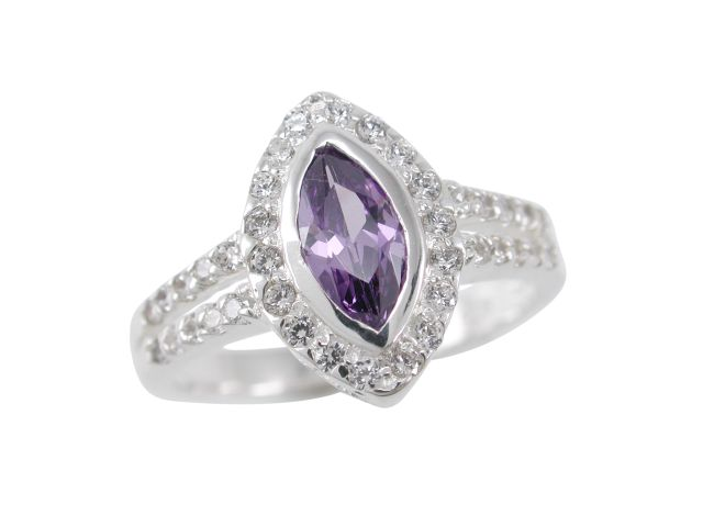 Sterling Silver 13mm Marquise Purple Cubic Zirconia Ring
