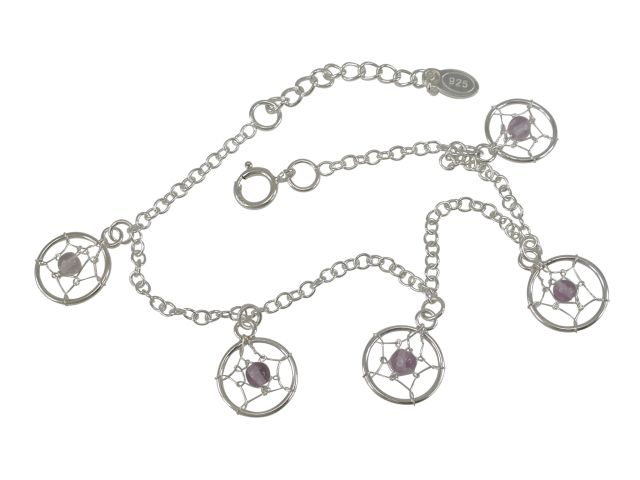 Sterling Silver 10mm Amethyst Dream Catcher Bracelet 16-19cm