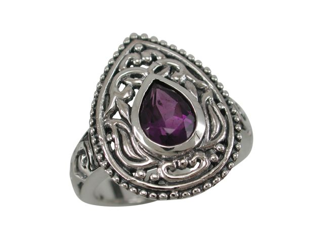 Sterling Silver 20mm Teardrop Purple Cubic Zirconia Bohemian Style Ring
