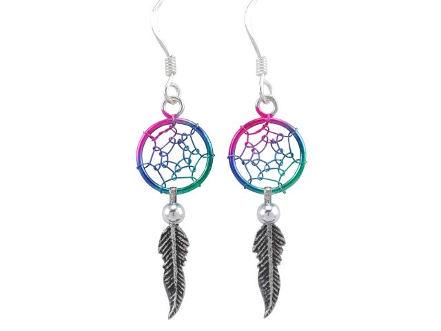 Sterling Silver 34x10mm Pink, Blue & Green Single Feather Dream Catcher Drop Earrings