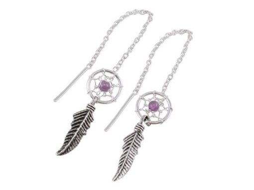 Sterling Silver 8x21mm Amethyst Single Feather Dream Catcher Thread Earrings