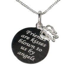 Sterling Silver 17mm *friends Are Kisses* With Angel Necklet 40-45cm