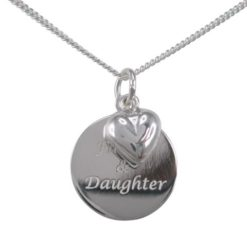 Sterling Silver 16mm Disc *father & Daughter* And 8mm Puff Heart Necklet 40-45cm