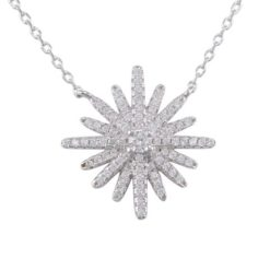 Sterling Silver 19mm White Cubic Zirconia Snowflake Necklet 40-43cm