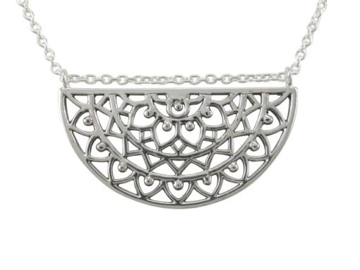 Sterling Silver 26x22mm Bohemian Style Half Circle Necklet 45-50cm