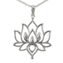 Sterling Silver 31x28mm Bohemian Style Lotus Flower Necklet 40-45cm