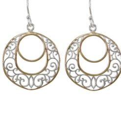 Sterling Silver 22mm Gold Plated Round Filigree Drop Earrings