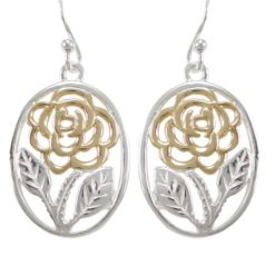 Sterling Silver 20x15mm Gold Plated Oval Flower Drop Earrings
