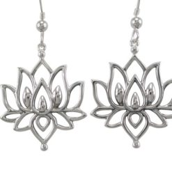 Sterling Silver 26x22mm Lotus Flower Drop Earrings