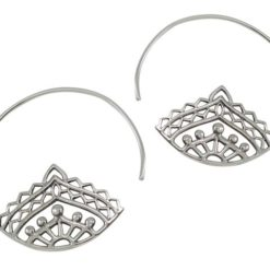 Sterling Silver 34mm Bohemian Style Hoop Earrings