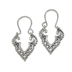 Sterling Silver 17x15mm Bohemian Style Drop Earrings