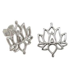 Sterling Silver 15x13mm Lotus Flower Stud Earrings