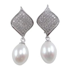 Sterling Silver 8mm White Freshwater Pearl & White Cubic Zirconia 32mm Stud Earrings