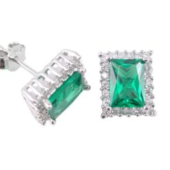 Sterling Silver 10x8mm Green & White Cubic Zirconia Rectangle Stud Earrings
