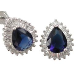 Sterling Silver 14x12mm Blue Teardrop & Tapered Baguette Cubic Zirconia Stud Earrings