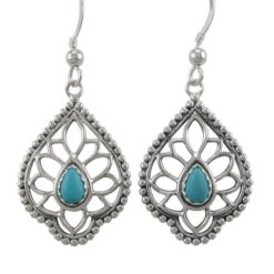 Sterling Silver 26x19mm Teardrop Blue Turquoise Bohemian Style Drop Earrings