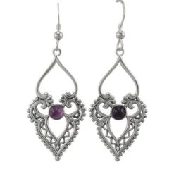 Sterling Silver 35x20mm Amethyst Bohemian Style Drop Earrings