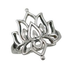 Sterling Silver 20mm Bohemian Style Lotus Flower Ring