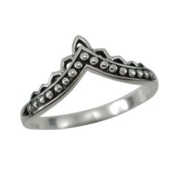 Sterling Silver 8mm Bohemian Style V Shape Ring