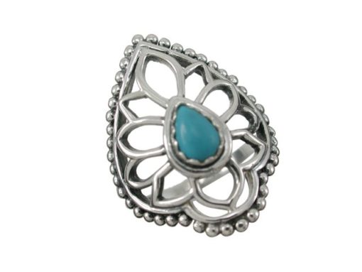 Sterling Silver 25mm Teardrop Blue Turquoise Bohemian Style Ring