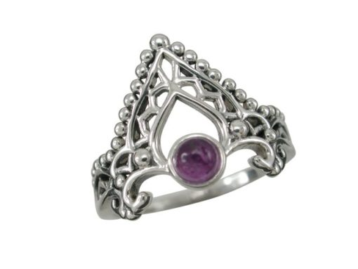Sterling Silver 16mm Amethyst Bohemian Style Ring