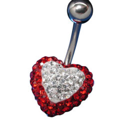 Surgical Steel Red And White Crystal Heart Banana  13x1.6x10mm