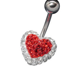 Surgical Steel White And Red Crystal Heart Banana  13x1.6x10mm