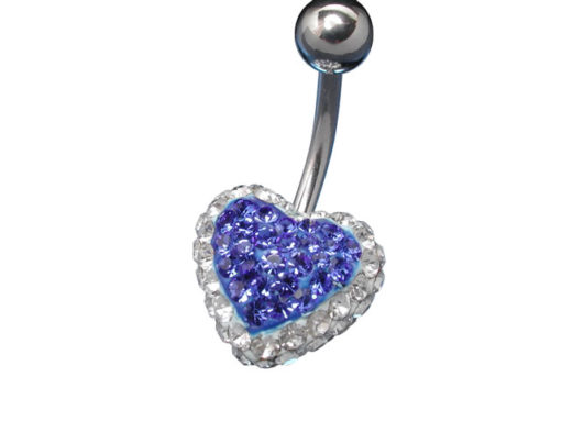 Surgical Steel Blue And White Crystal Heart Banana
