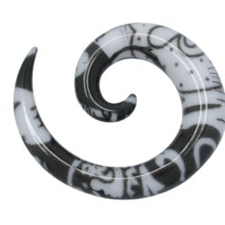 Black Plastic 6mm Spiral Ear Stretcher Tribal Design